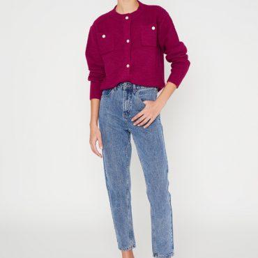 Jeans mom fit con cinco bolsillos azul