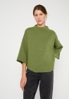 Jersey de punto evasé estilo capa con cuello alto verde